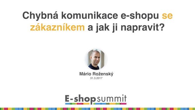 Přednáška Chybná komunikace e-shopu se zákazníkem